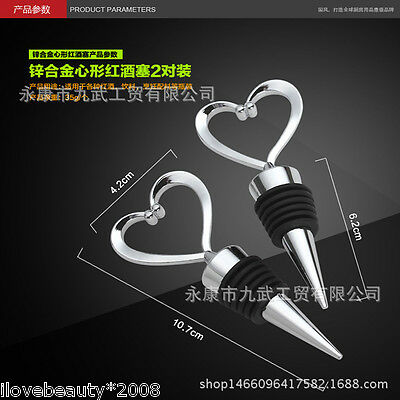 Heart Shaped Bar Accessories Red Wine Stoppers Metal Bottle Stopper NG Hot
