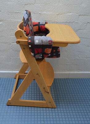 Wooden High Chair adjustable hights and extra seat cover