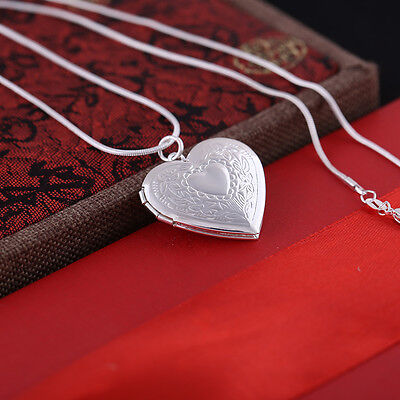 """Fashion Hot Silver Plated Locket Heart Photo Pendant Necklace 18"""" For Women Girl"""