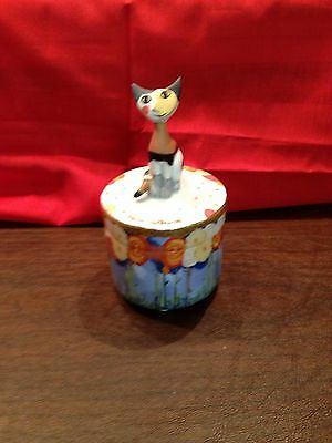 "Beautiful 2-Piece, One Cat, Wachtmeister Musical Trinket Box - Plays ""Memories"""