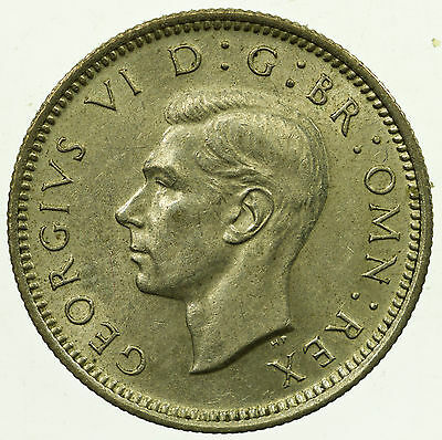 Great Britain, George Vi Sixpence, Silver, High Grade, 1939