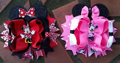 Minnie Mouse Stacked Boutique Hair Bow Handmade Red Or Pink