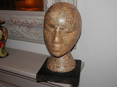 *rare* Papier Mache Head On Old Wooden Base 12 Inch Tall **student Art**