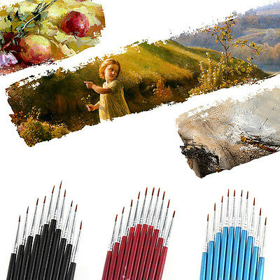 10Pcs Nylon Hair Brush Hook Line Pen Artist Watercolor Acrylic Drawing Painting