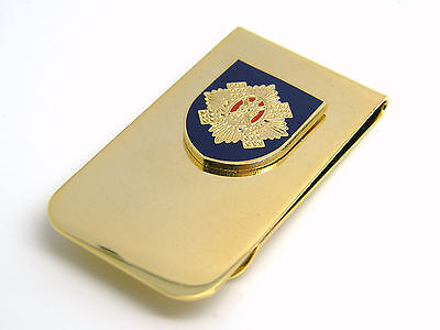 THE ROYAL SCOTS DRAGOON GUARDS BADGE MONEY CLIP ARMY MILITARY GIFT IN POUCH