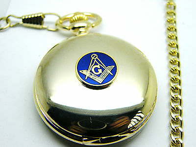Masonic G Badge Craft Pocket Watch And Chain Square And Compass Boxed Gift