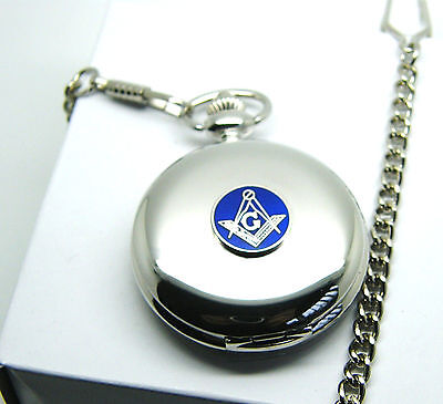 Masonic G Badge Craft Pocket Watch And Chain Square & Compass Gift In Box