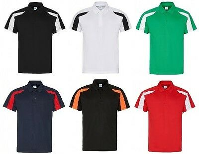 Mens Polo Shirt Contrast Sports Breathable Wickable Running Training Gym JC043