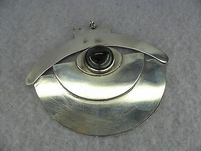 Art Deco Style Cabochon Sterling Solid Silver Pendant, Sheffield 1990