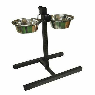Double Stainless Steel Bowls Set Adjustable Stand Pet Dog Food Water Bowls