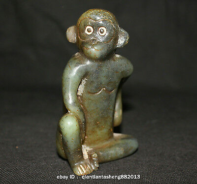 Antique China Dark Hongshan Jade old Sanxingdui culture Carved Monkey Sculpture