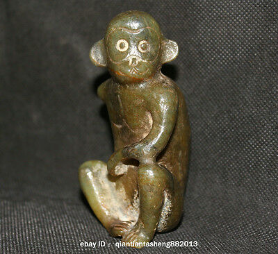 Antique China Hongshan Jade Sanxingdui culture Carved Zodiac Monkey Sculpture