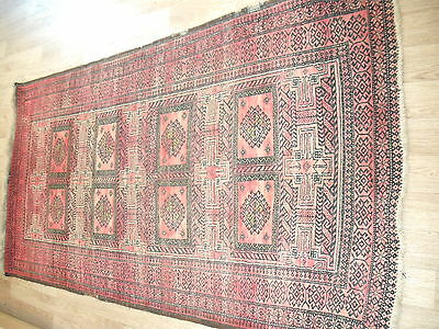 handmade persian rug (used) red 214 x 109 cm