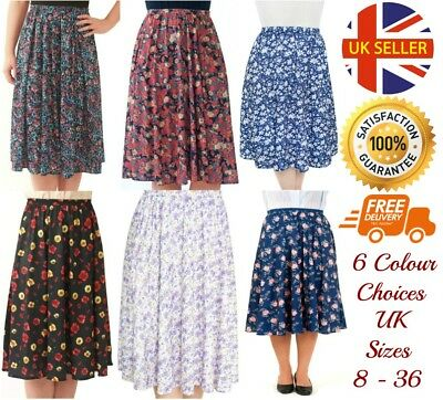 917963b78a Floral Patterned Elasticated Pull Up Pleat Skirts Sizes 8-36 6 Colour  Choices