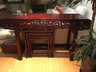Antique Chinese Carved Solid Rosewood Altar/ Console Table Color Reddish Brown