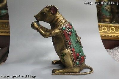 """8""""Chinese Tibet Buddhism Old Purple Bronze turquoise coralal Gem mouse Statue"""