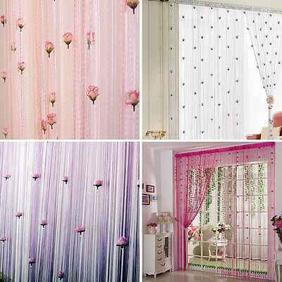 1M*2M Glitter String Curtain Panels Fly Screen Room Divider Voile Net Curtains