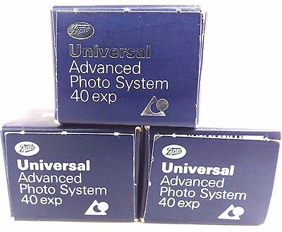 3 X Boots Advanced Photo System  400Asa -40 Exposure Aps Films Unoped