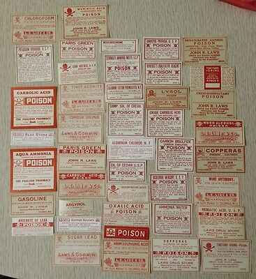 43 Different Vintage / Antique Poison Medical Pharmacy Apothecary Bottle Labels