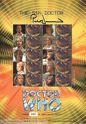 Official The 5th Doctor Who Smiler Stamp Sheet Signed Peter Davison- BC-061