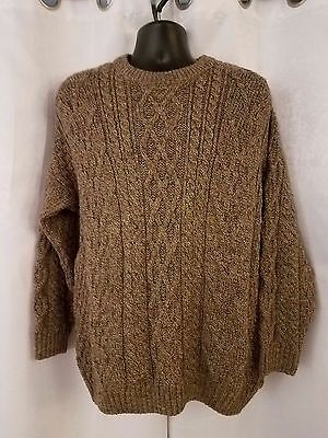 Mens West Highland Woollens Medium 100% Wool Cable Knit  Sweater Scotland Size L