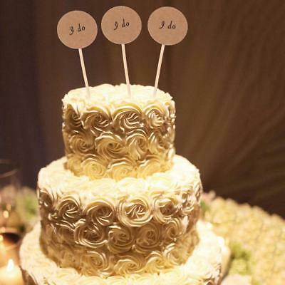 50pcs Kraft Paper I Do Cake Topper Cupcake Picks Wedding Party Decoration