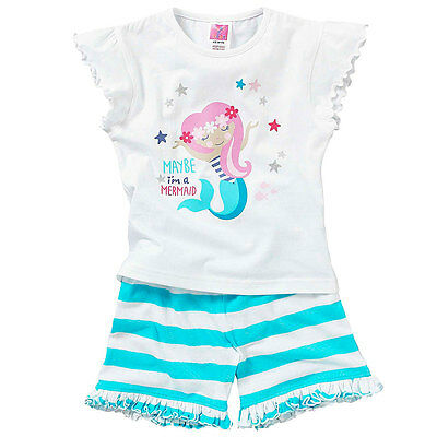Cozy n Dozy Younger Girls Maybe I'm A Mermaid Shortie Cotton Summer Pyjamas