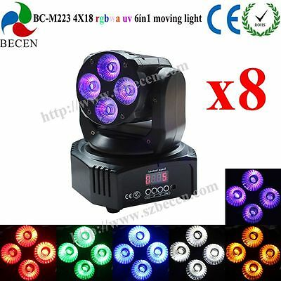 8pcs remote control 4x18W rgbwa uv 6 in 1 mini led beam moving head wash light