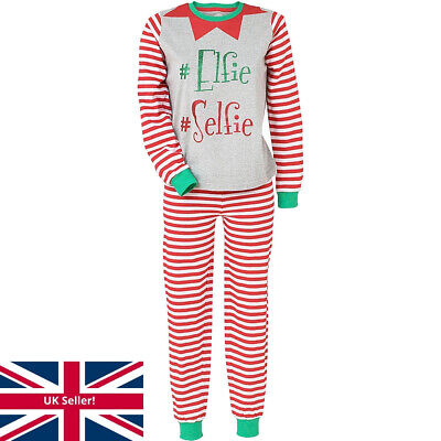 Love To Sleep Elfie Selfie Christmas Novelty Elf Striped Women's Pyjamas Red