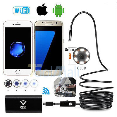 1M 8mm Android iPhone Endoscope Waterproof SnakeBorescope Wifi Inspection Camera