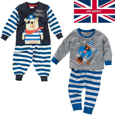 Lullaby Baby Boys Cute Pirate Bear Ahoy There! Cotton Striped Long Pyjamas Blue