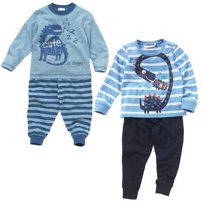 Lullaby Baby Boys Cute Zilla Sleepy Dinosaur Cotton Striped Long Pyjamas Blue