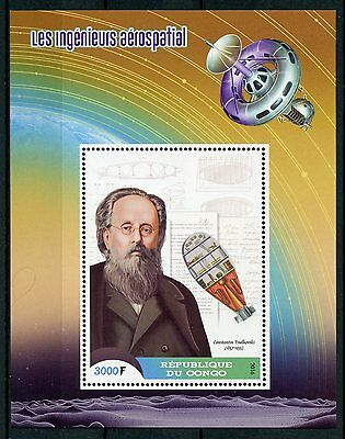Congo 2016 MNH Space Engineers & Scientists Tsiolkovsky 1v S/S Science Stamps