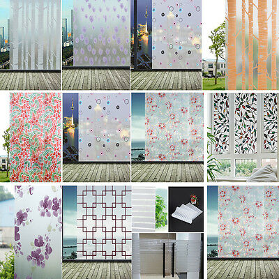Frosted Cover Glass Window Door Floral Flower Sticker Film Home Office 45*200cm