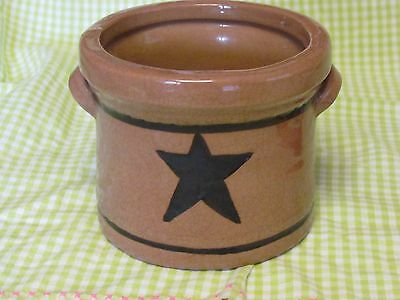 Vintage Glazed Brown Crock With Recessed Star And 2 Handles