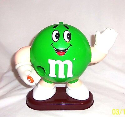 """Vintage 1992 M & M Green Character Candy Dispenser - 9"""" Tall - Mint, Never Used!"""
