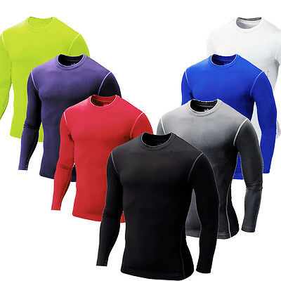 Men Compression Long Sleeve T Shirt Body Gym Fit Base Thermal Layer Jersey Top