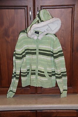 Girls Childrens Place Green Striped Hooded Sweater size 10-12