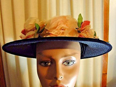 Vintage 1940's - 50's Black and Deep Blue Synthetic Straw Hat With Pink Flowers