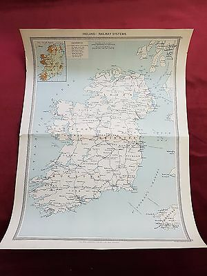 Antique Map 1906..IRELAND Railway Systems..Harmsworth universal atlas..