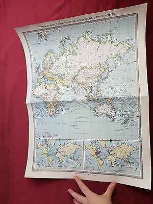"""Antique Map 1906..""""The Old World Showing British Possessions & Trade Routes"""".."""