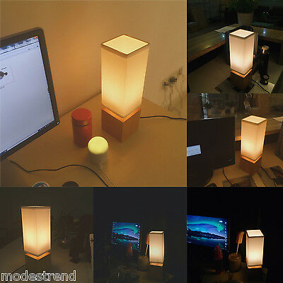 Minimalist Desk Lamp Solid Wood Table Lamp Flax Linen Shade Bedside