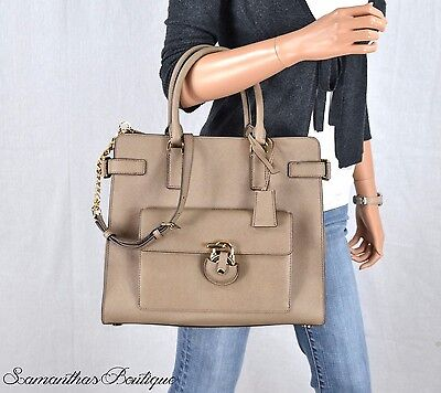 Nwt Michael Kors Emma Brown Leather Tote Satchel Shoulder Bag Handbag Purse
