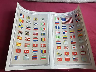 "Antique Map 1906..""European Flags, Africa Asia Flags""..."