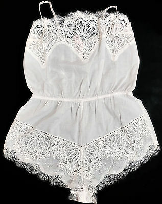 New Victoria's Secret Floral Dream Angels Crochet Lace Romper White Lingerie