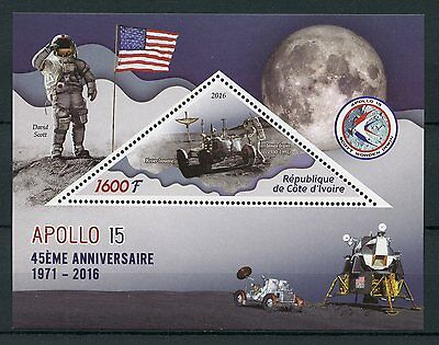 Ivory Coast 2016 MNH Apollo 45th Anniv Scott Irwin Worden 1v S/S Space Stamps