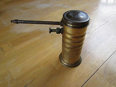 "Vintage No. 66 Eagle Made In USA Oil Can 5"" Tall Rare Brass Cylinder-oiler"