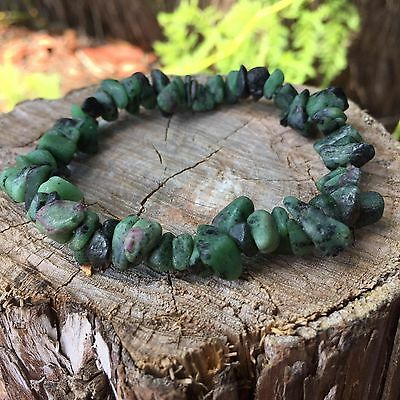 Natural Anyolite / Ruby Zoisite Gemstone Crystal Bracelet Chip Bead Chakra Heali