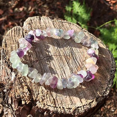 Natural Fluorite Gemstone Crystal Bracelet Chip Bead Chakra Healing
