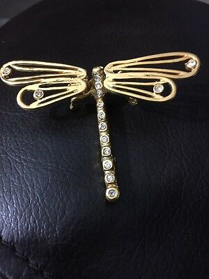 Adorable Gold Tone Dragonfly Trembler Brooch W Stones